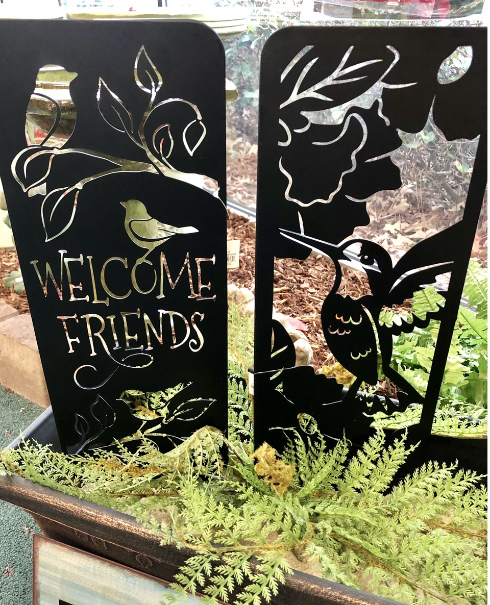 planter stakes, welcome friends, yard art, metal, hummingbird