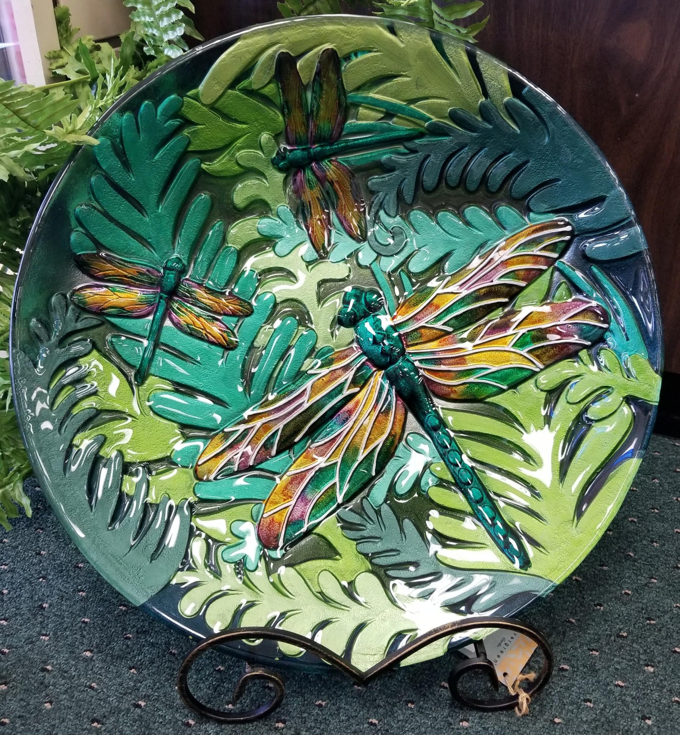 bird bath, garden, dragonfly, glass, yard art, food safe, foliage, spring