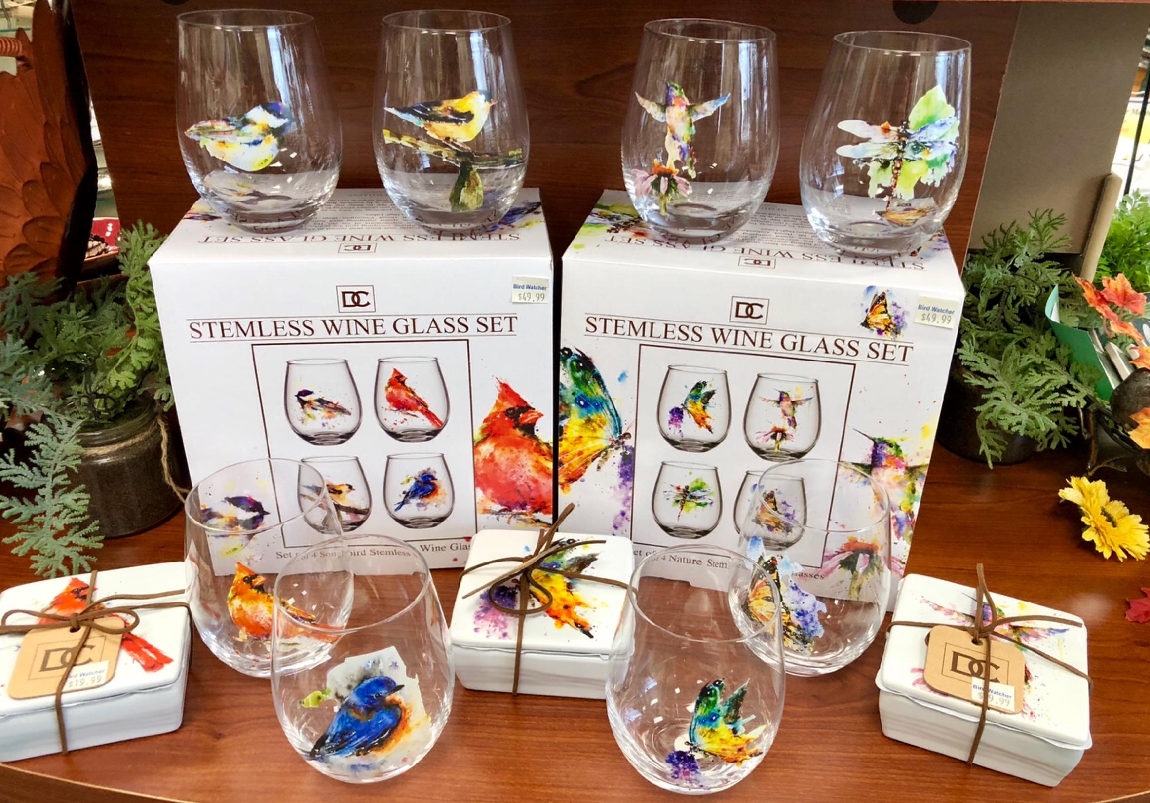 dean crouser, wine glass, stemless, birds, butterflies, tabletop, drinkware