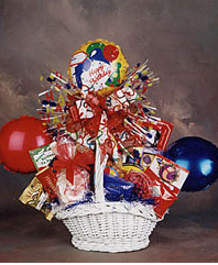 birthday gift basket with balloons