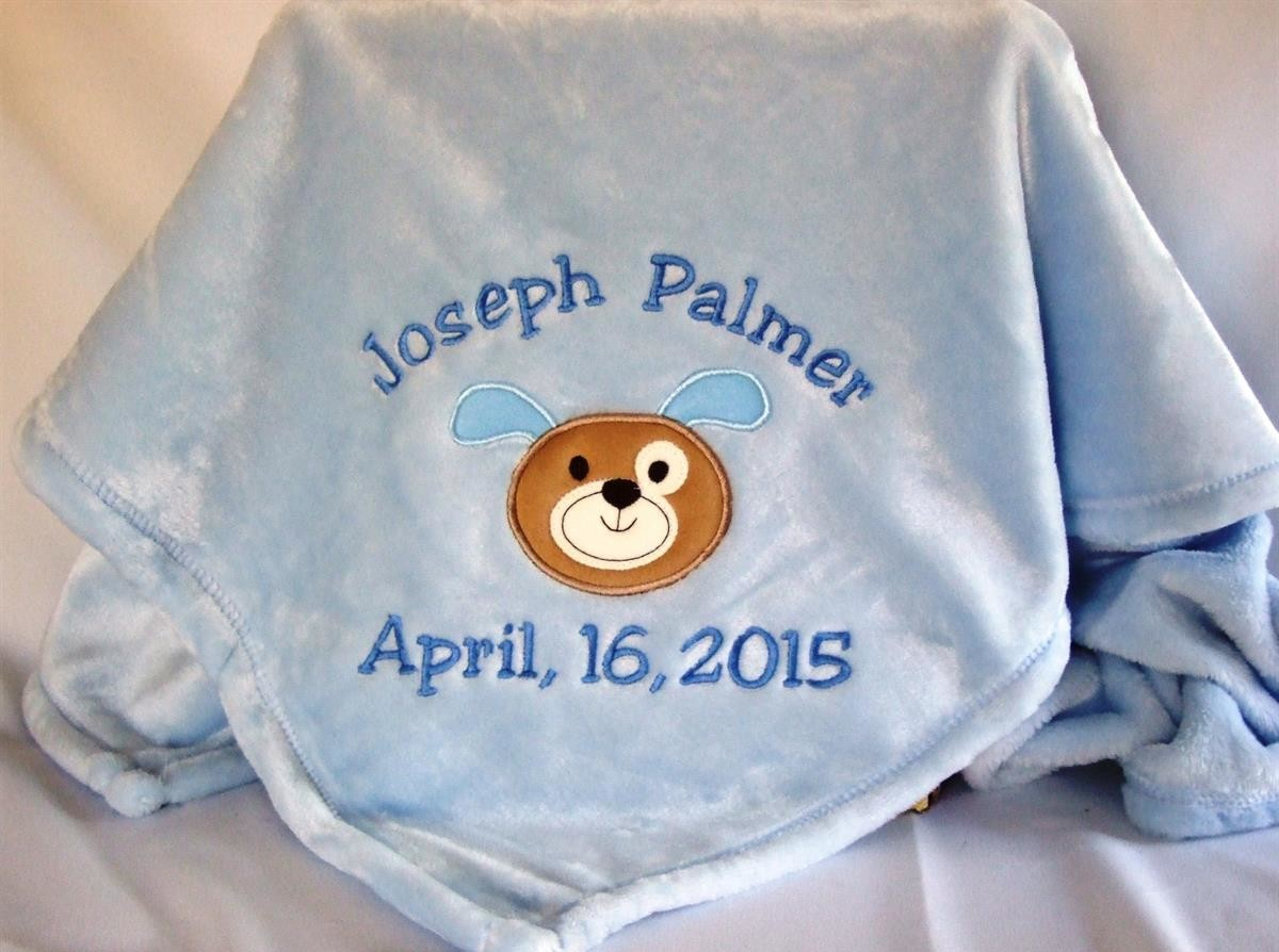 Personalized baby blanket with puppy applique TMF1002