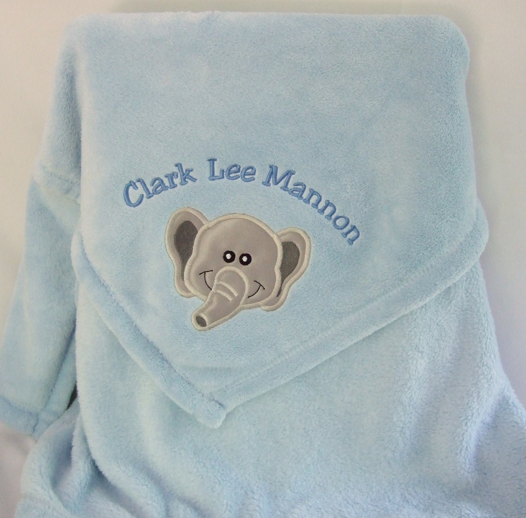 Personalized baby blanket with elephant applique