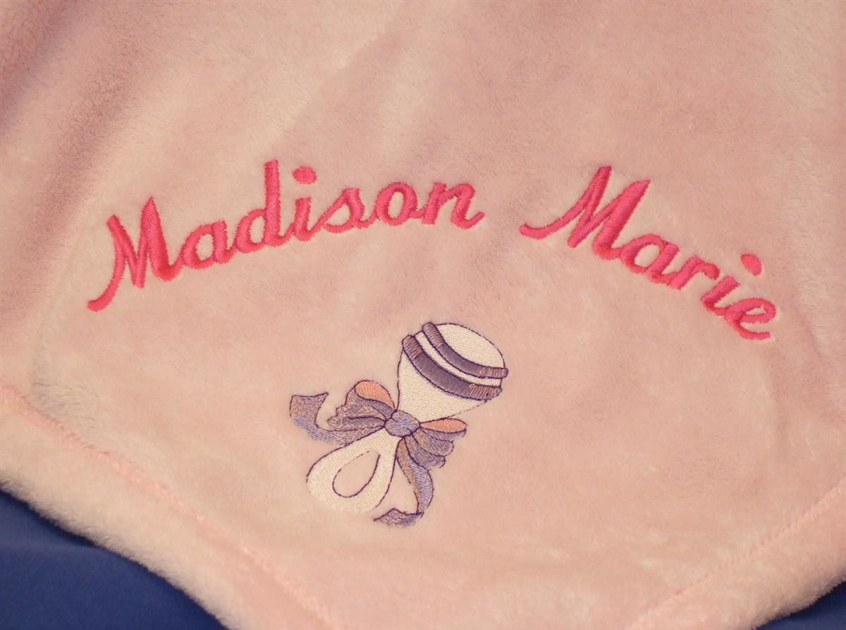 Personalized baby blanket with rattle TMF1009