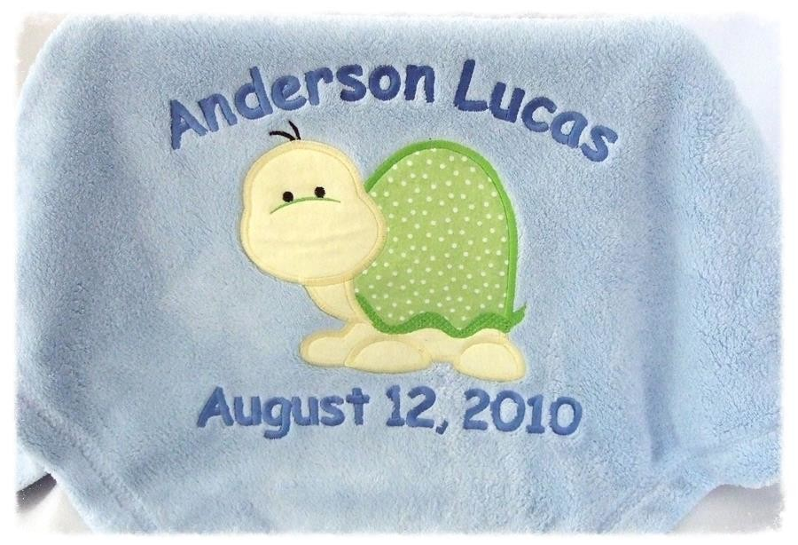 Personalized blue baby blanket & turtle applique TMF1001