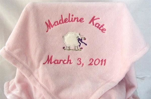 Personalized  pink baby blanket with lamb applique