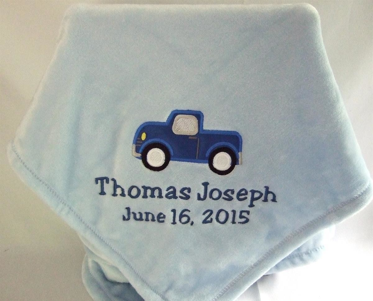 Personalized blue baby blanket truck applique TMF1005