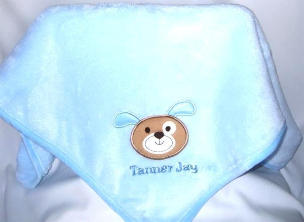 Personalized baby blanket puppy applique TMF1002