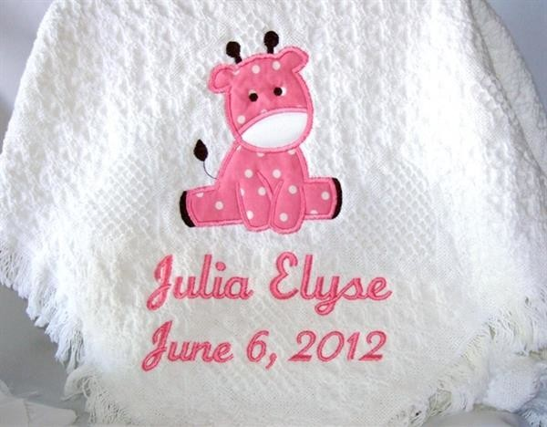 Personalized white woven hearts baby blanket with pink giraffe applique