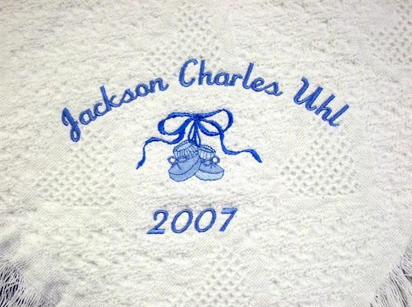 Personalized white woven hearts baby blanket with blue booties