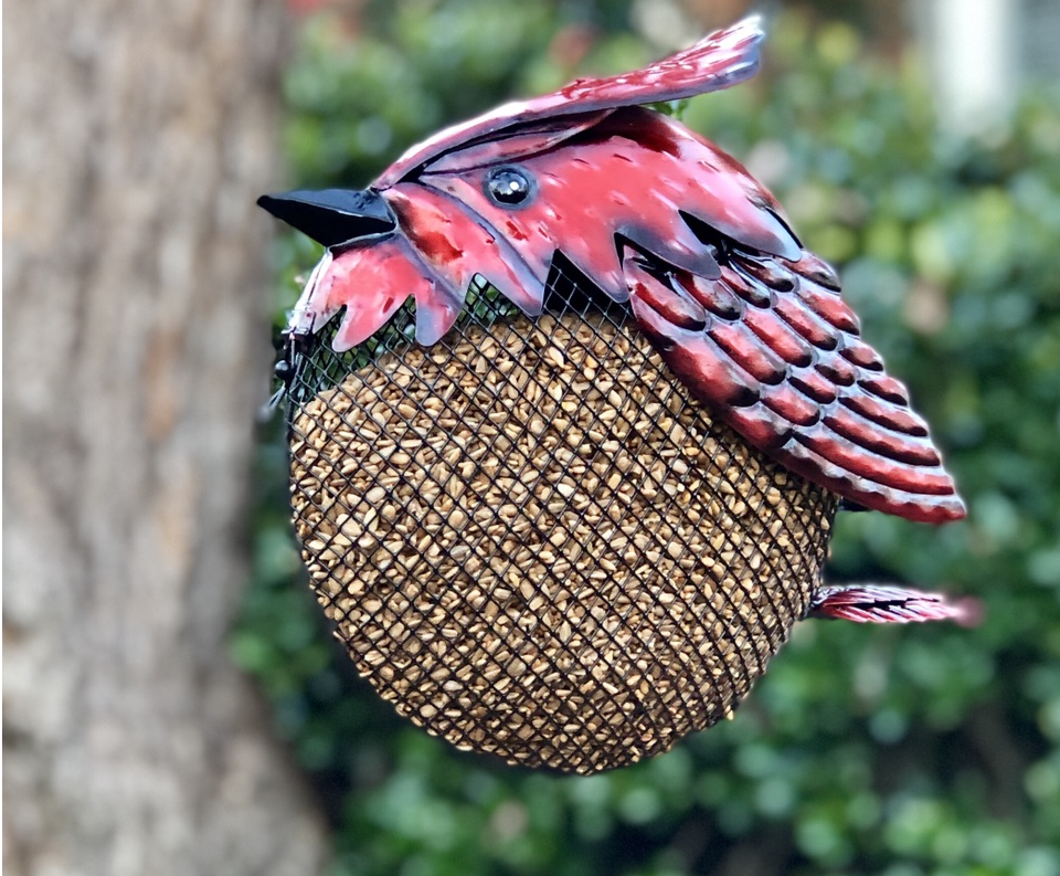 mesh feeder, bird feeding, metal, ornamental, cardinal
