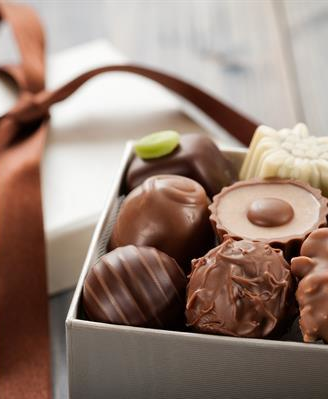 gift box filled with chocolate truffles