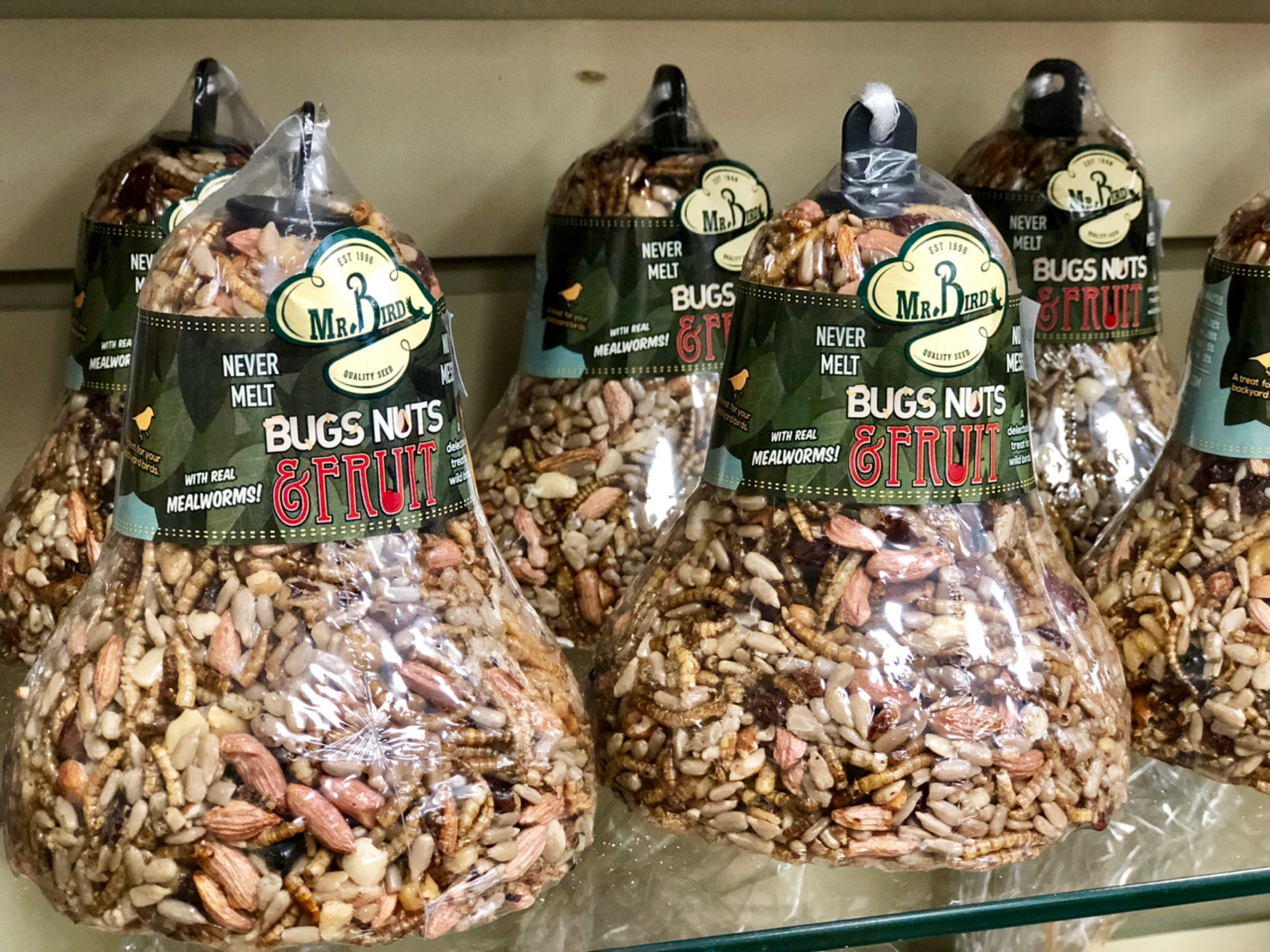 seed bell, bird seed, bird food, bugs, nuts, fruit, mealworms