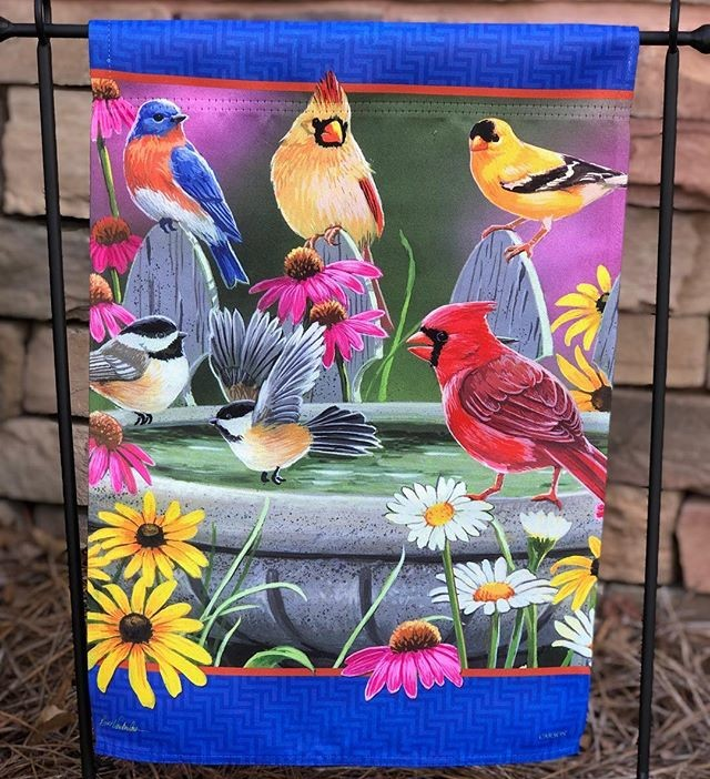 garden flag, spring, birds, cardinal, bluebird, bird bath
