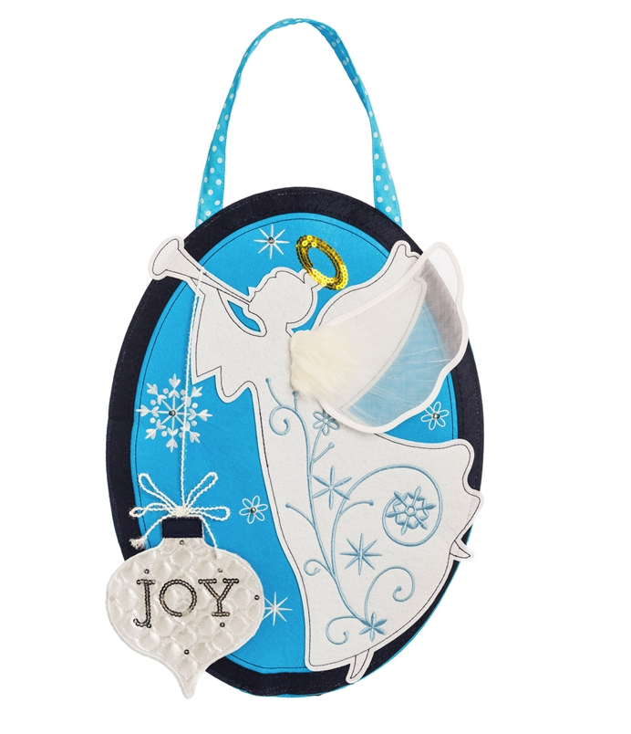 Joyful Lighted Angel Door Hanger