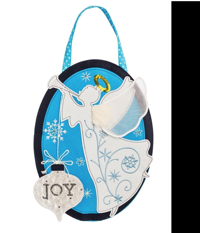 Joyful Lighted Angel Door Hanger