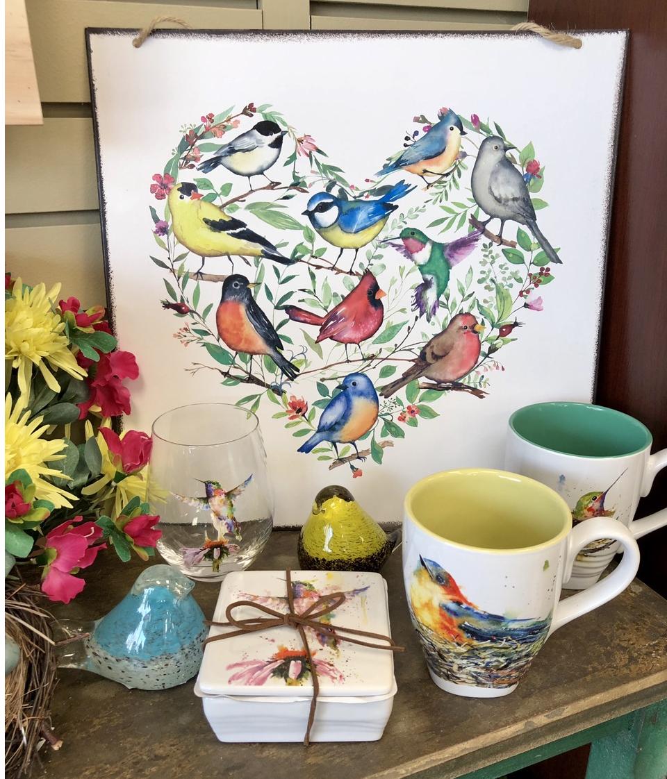 home decor, birds, table top, art, mugs,