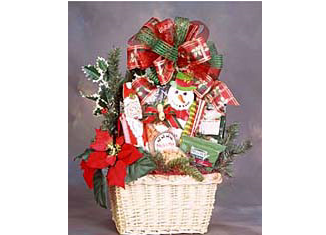 Traditional holiday gift basket full with treats.