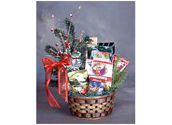 Christmas gift basket, assorted cookies, chocolate truffles and more.