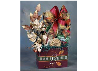 Season's Greeting gift box bursting with gourmet treats.