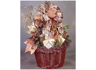 Burgunday gift basket bursting with chocolate, pecans, cookies, cheese and crackers.