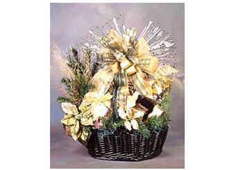 Decadent assortment of gourmet treats in a hunter green holiday gift basket.