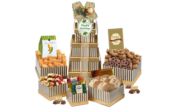 Holiday Greetings gift tower