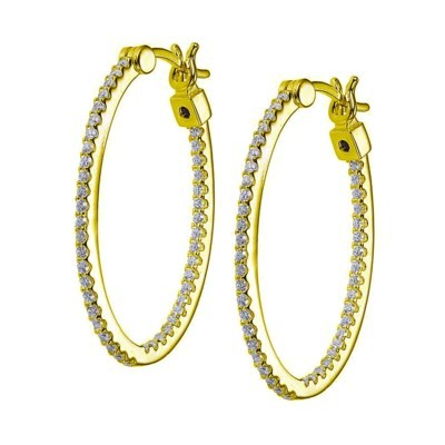 CZ Inside-Out Gold Plated Hoops