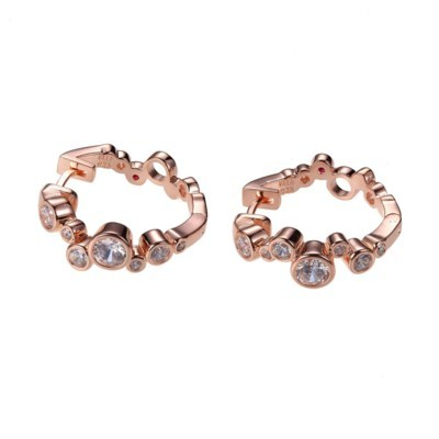 CZ Bubble Rose Gold Plated Small Hoops