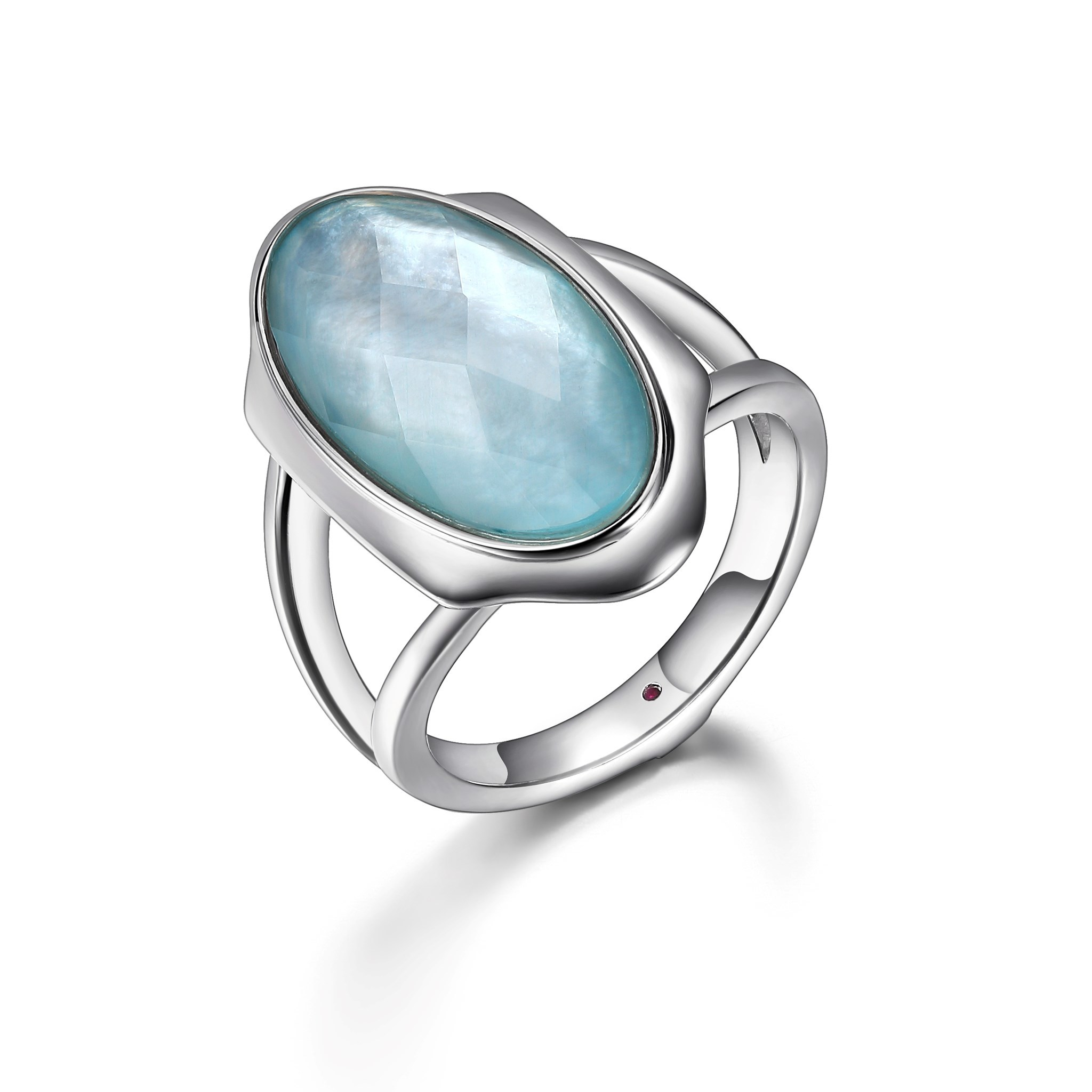 Crystal & Mother-of-Pearl Doublet Ring