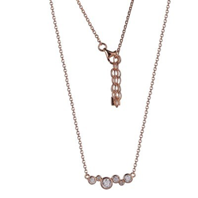 Rose Gold Plated CZ Bubble Necklace