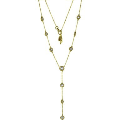 Gold Plated Layered CZ Drop Necklace