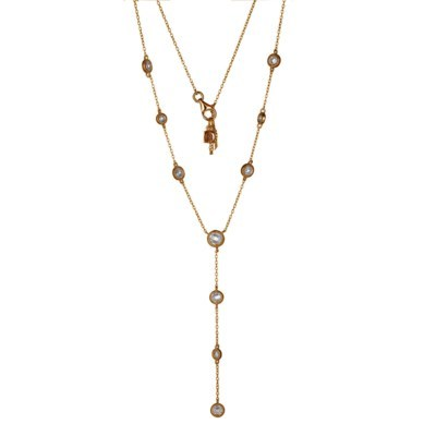 Rose Gold Plated Layered CZ Drop Necklace