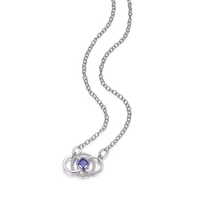 Blue CZ Fixed Circle Necklace