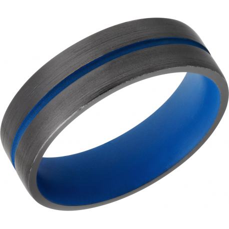 Black Zirconium Thin Blue Line Band