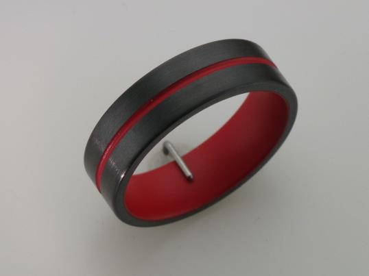 Black Zirconium Thin Red Line Band