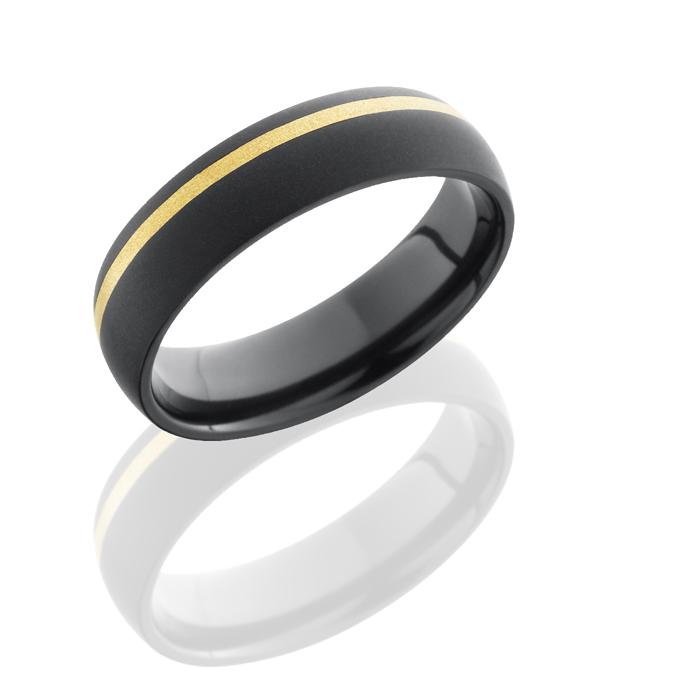 Black Zirconium & Gold Inlay Band