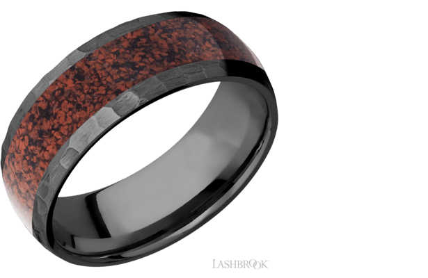 Black Zirconium & Red Dinosaur Bone Band