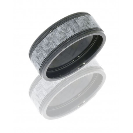 Black Zirconium & Silver Carbon Fiber Flat Band