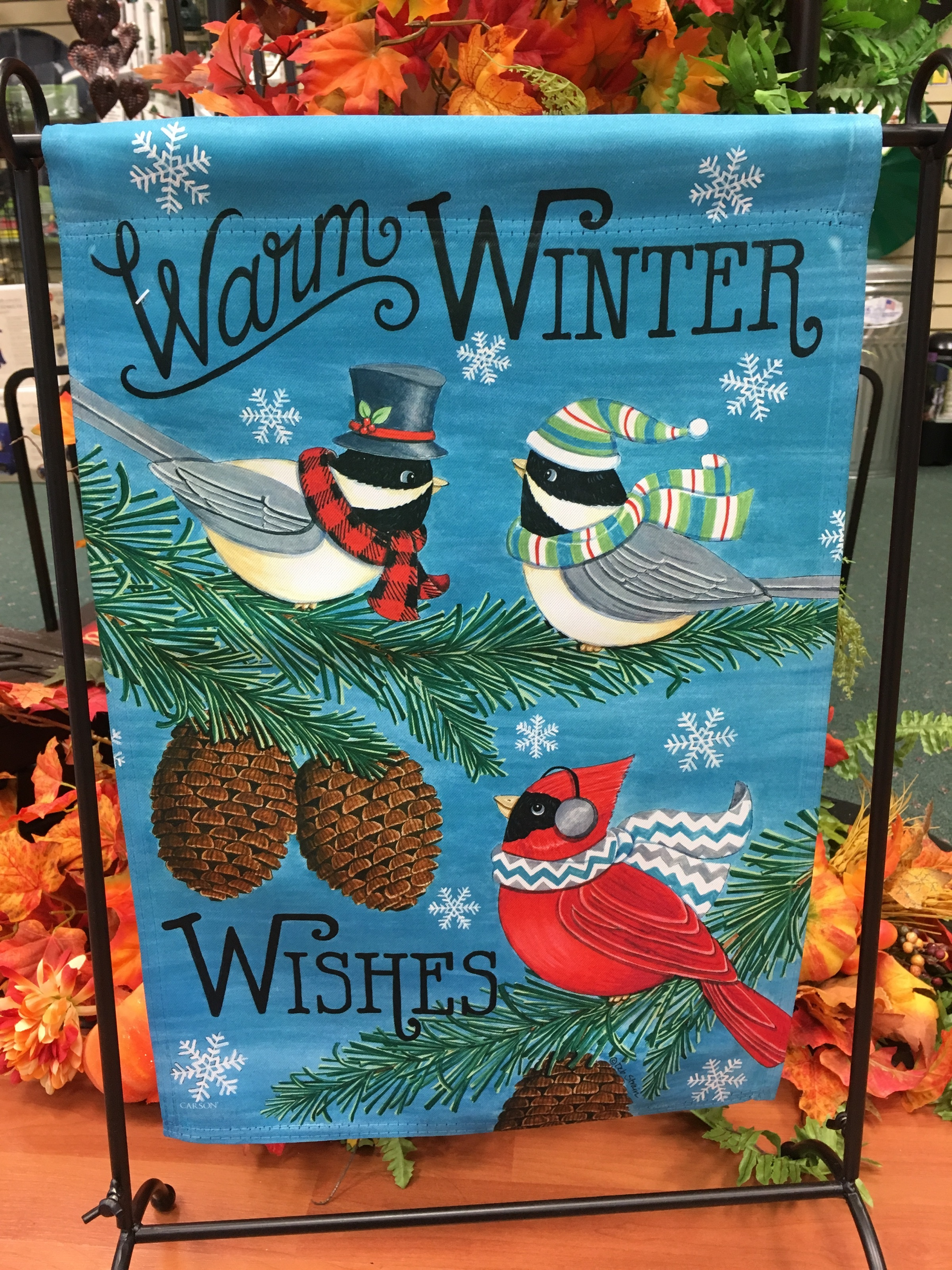 garden flag, birds, winter wishes, snow