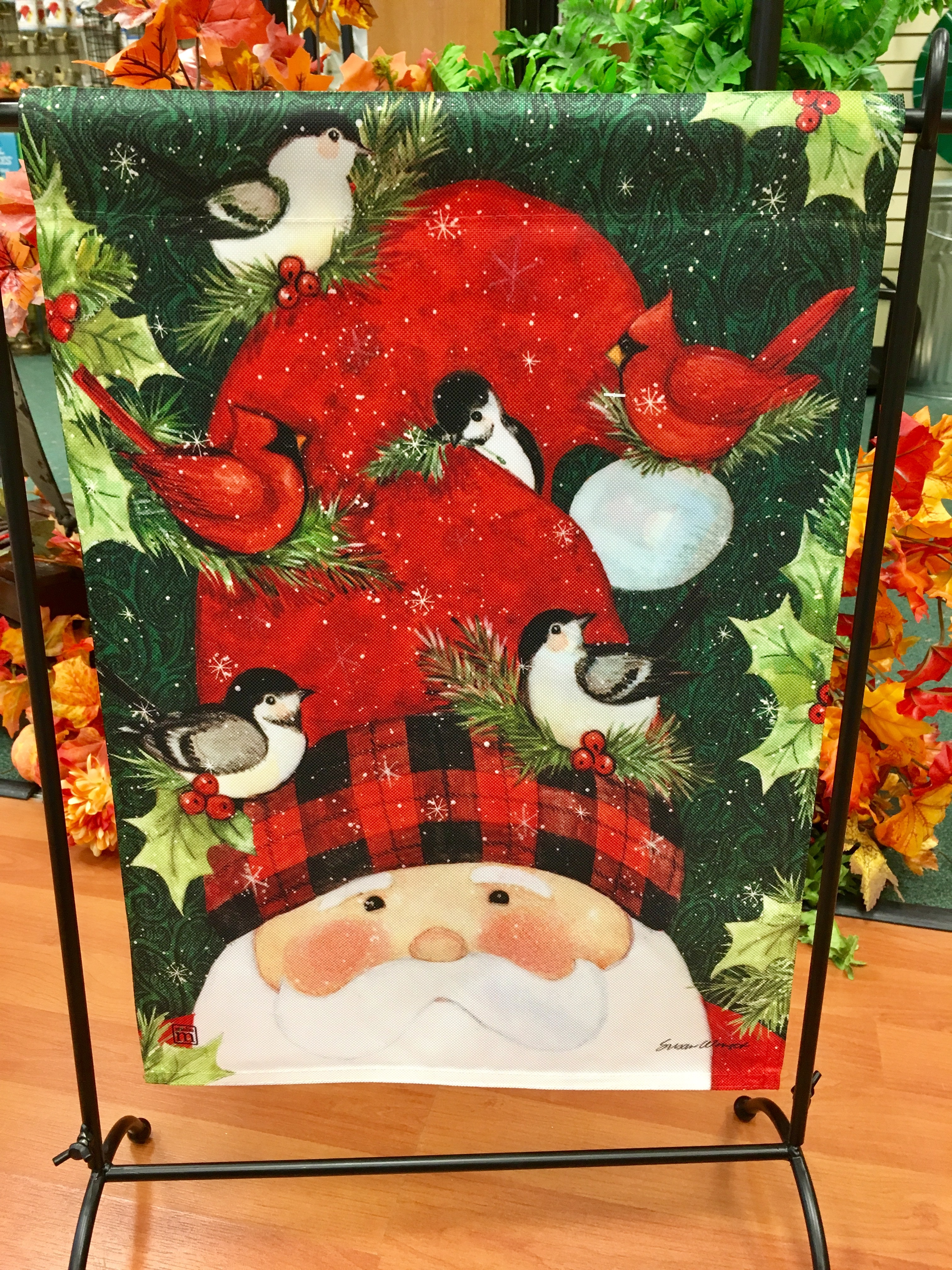 garden flag, santa, birds, holly, Christmas