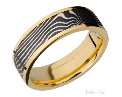 Damascus Steel & Yellow Gold Band