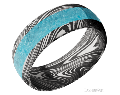Damascus Steel & Turquoise Band