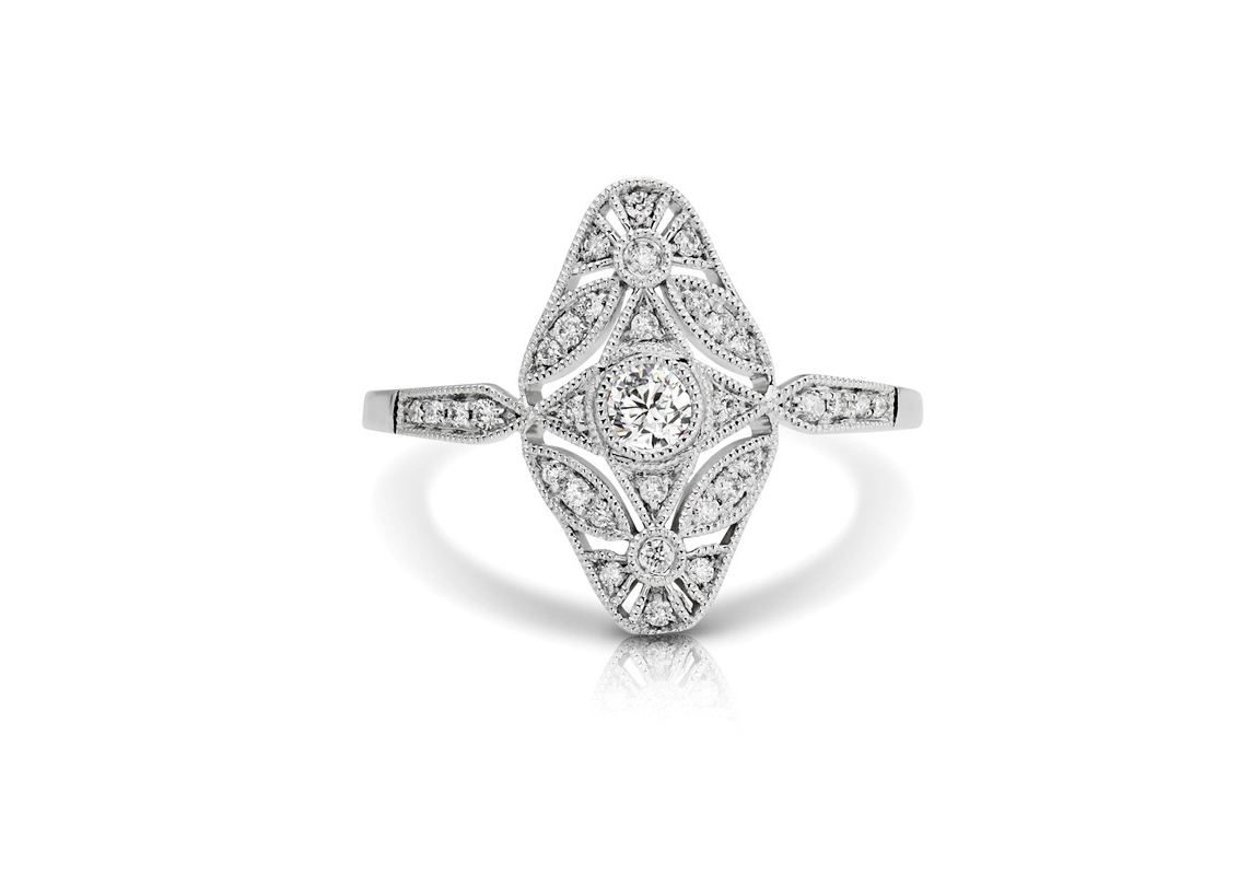 Oval Diamond Filigree Ring