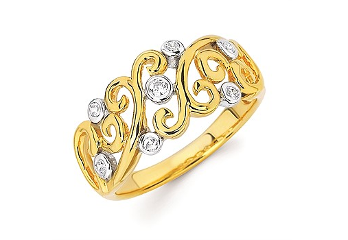 Gold & Diamond Vine-Style Band