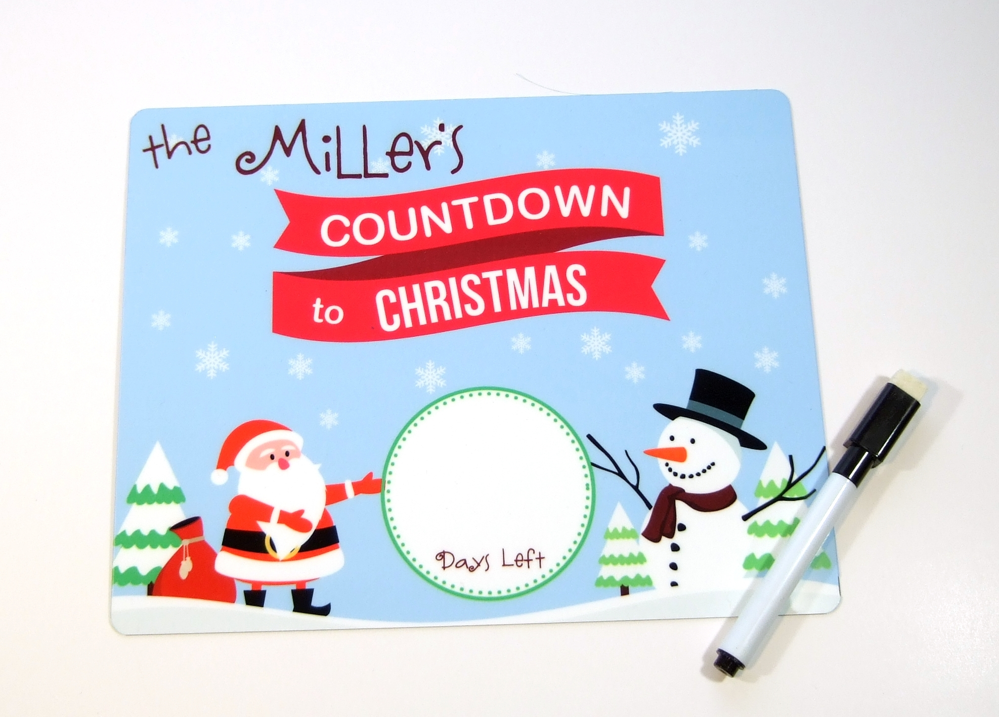 Countdown to Christmas Dry erase board DEB1011