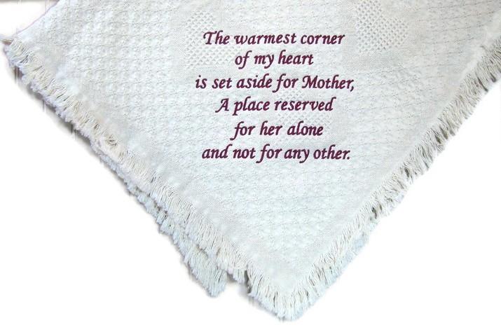 Warmest corner of my heart white memorial blanket