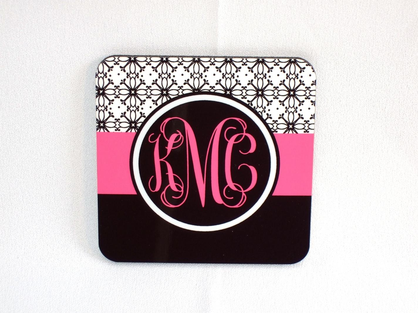 Floral print/hot pink/black monogram coaster
