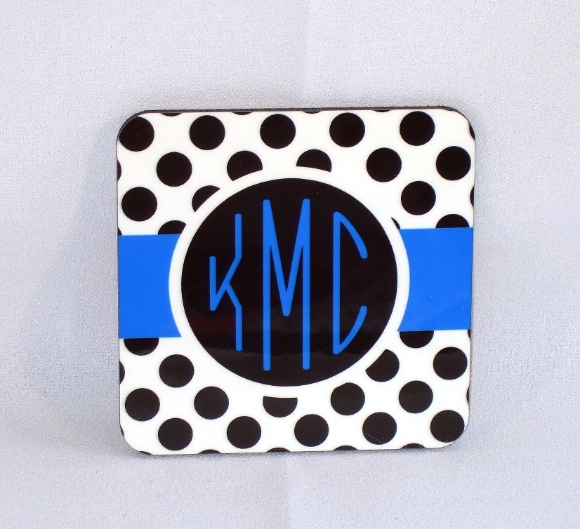 Black & white polka dot with blue accent monogram coaster