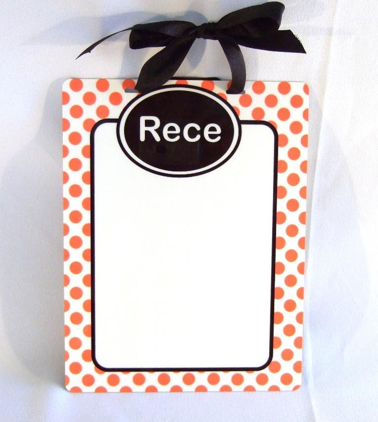 Orange Polka dot personalized dry erase board DEB1008