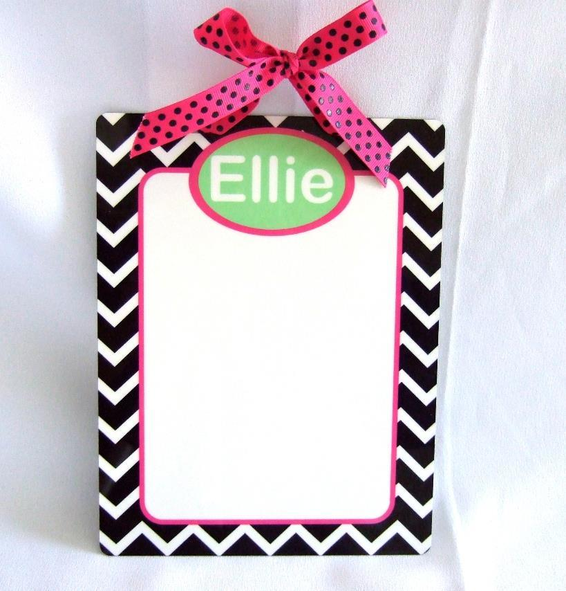 Personalized Dry Erase board with black & white chevron print & hot pink trim DEB1000